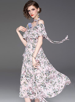 Chic Print Off Shoulder Irregular High Waist Dress