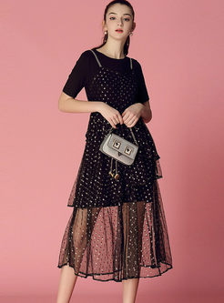 Brief Black O-neck T-shirt & Polka Dot Mesh Dress