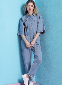 Lapel Loose Butterfly Print Denim Jumpsuits