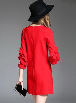 Pure Color Loose Petal Sleeve Skater Dress