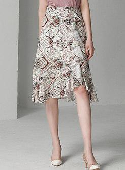 Trendy Print High Waist Asymmetric Mermaid Skirt