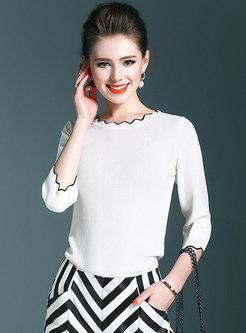 Brief Half Sleeve Slim Daily Sweater