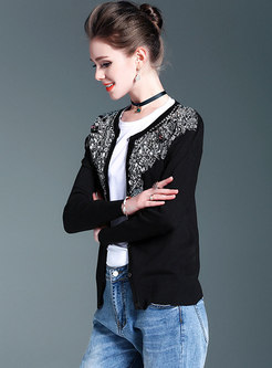 Embroidered Beaded All-matched Sweater