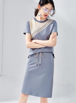 Casual Color-blocked O-neck T-shirt & Tie-waist Slim Skirt