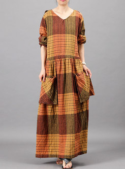Vintage Plaid V-neck Pocket Loose Dress