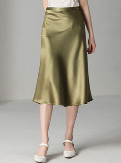 Elegant Solid Color High Waist A Line Skirt