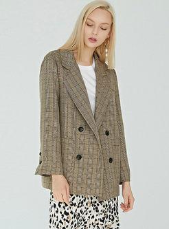 Trendy Long Sleeve Plaid Blazer