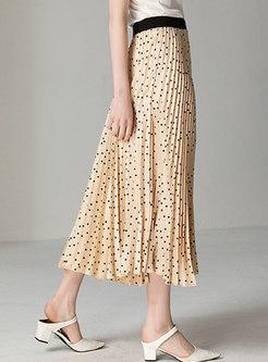 Polka Dot Elastic Waist Hem Pleated Skirt