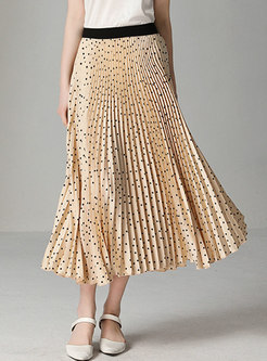Polka Dot Elastic Waist Hem Pleated Skirt