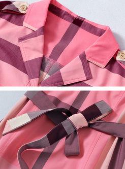 Casual Lapel Tie-Waist Plaid Skater Dress