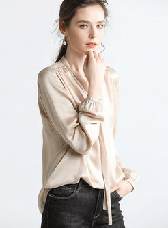 Brief Solid Color Silk Bowknot Blouse