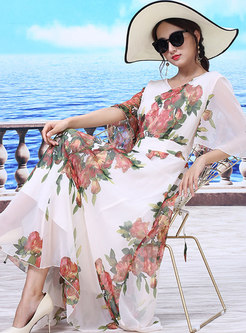 Stylish Print Ruffle Sleeve Chiffon Beach Maxi Dress