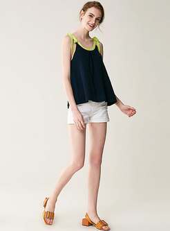 All-matched Splicing Tied Bowknot Camis