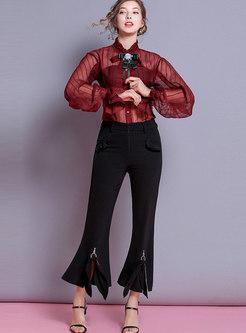 Chic Ruffled Collar Lantern Sleeve Bowknot Blouse