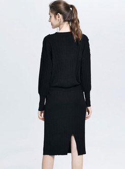 Brief Solid Color Knitted Coat & Sheath Skirt