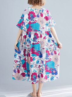 Stylish Print Flare Sleeve Loose Dress