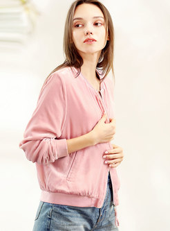 Pink Velvet O-neck Zipper Jacket