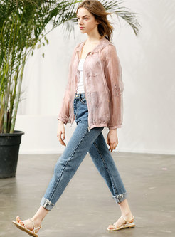 Casual Lace Perspective Silk Thin Hooded Coat