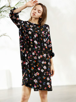 Floral Print Ruffle Sleeve Shift Dress