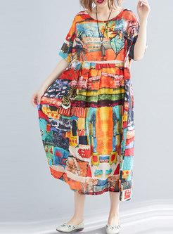 Plus Size Print Short Sleeve Loose Dress