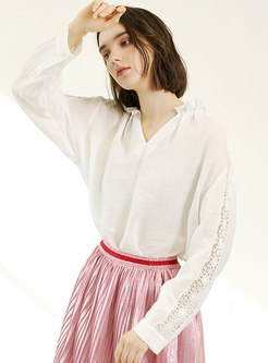 V-neck Hollow Out Casual White Blouse