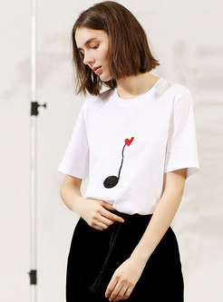Brief White Loose Cotton Daily T-shirt