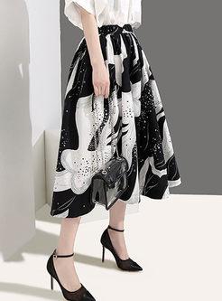 Elastic High Waist Print A Line Skirt