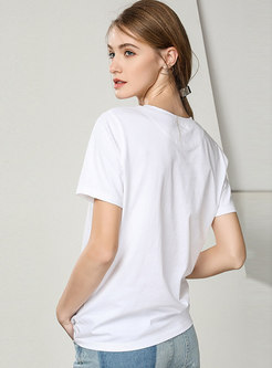 Casual Letter Print O-neck T-shirt