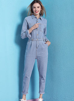 Lapel Long Sleeve Slim Denim Jumpsuits