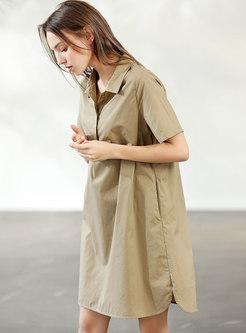 Brief Khaki Cotton Short Sleeve T-shirt Dress