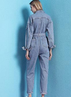 Stylish Long Sleeve Loose Waist Jumpsuits