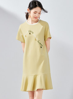 Casual Letter Embroidered O-neck Mermaid Dress