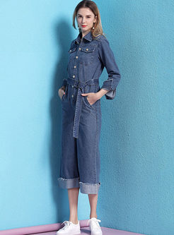 Lapel Single-breasted Wide Leg Jumpsuits