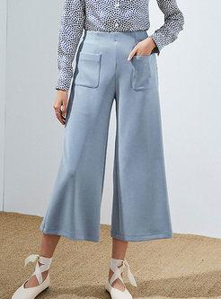 High Waist Solid Color Wide Leg Pants