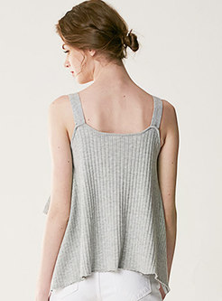 Brief Pure Color Casual Knitted Camis
