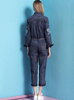 Vintage Embroidered Slim Denim Jumpsuits