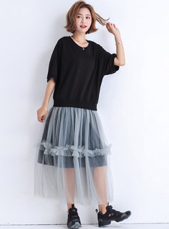 Mesh Splicing O-neck Loose T-shirt Dress