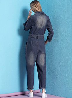 Fashion Lapel Long Sleeve Denim Jumpsuits