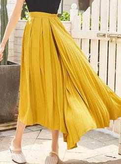 Fashion Solid Color Asymmetric Skirt
