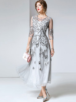 Chic Party Mesh Embroidered Slim Maxi Dress
