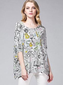 O-neck Bat Sleeve Loose Print Sweater
