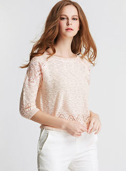 Brief Solid Color Hollow Out Knitted Top