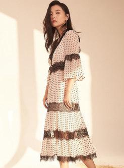Polka Dot V-neck Flare Sleeve Perspective Dress