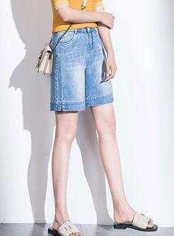 Stylish High Waist Denim Slim Shorts