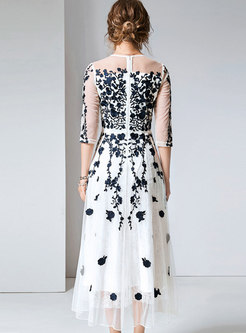 Chic Embroidered Drilling Slim Party Maxi Dress