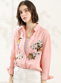 Trendy Pink Embroidered Shift Blouse