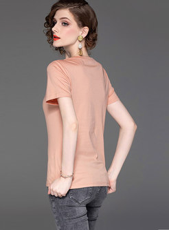 Casual Cotton Pure Color O-neck T-shirt