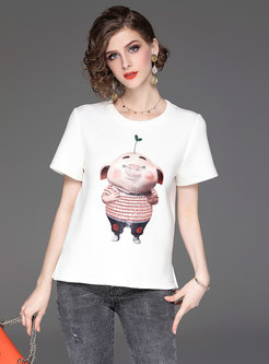 Casual Cartoon Pattern O-neck T-shirt