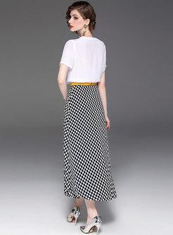 Color-blocked O-neck T-shirt & Plaid Belted Slit Skirt