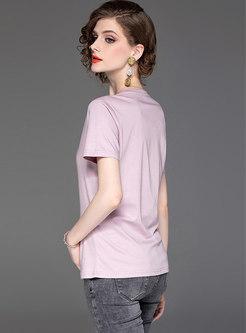 Solid Color Cotton V-neck T-shirt